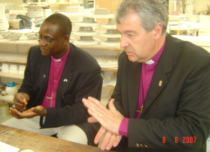 Archbishop Josiah and Bishop Jackson assisting at Belleek Pottery